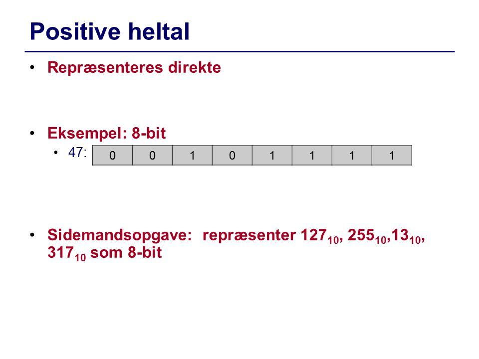 Positive heltal Repræsenteres direkte Eksempel: 8-bit