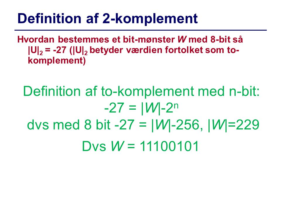 Definition af 2-komplement