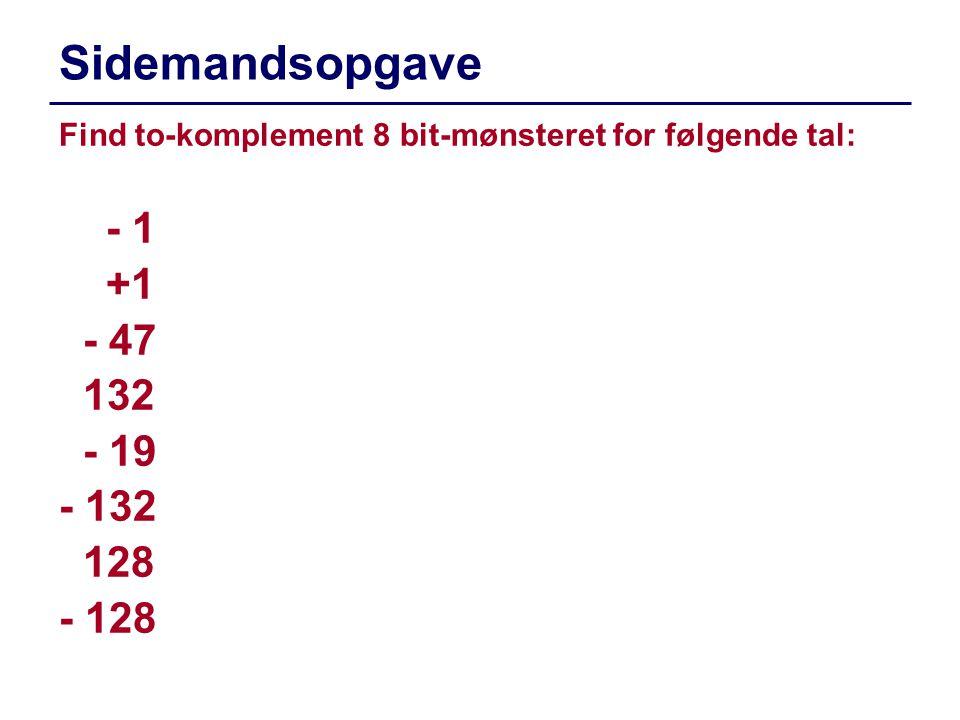 Sidemandsopgave - 1 +1 - 47 132 - 19 - 132 128 - 128