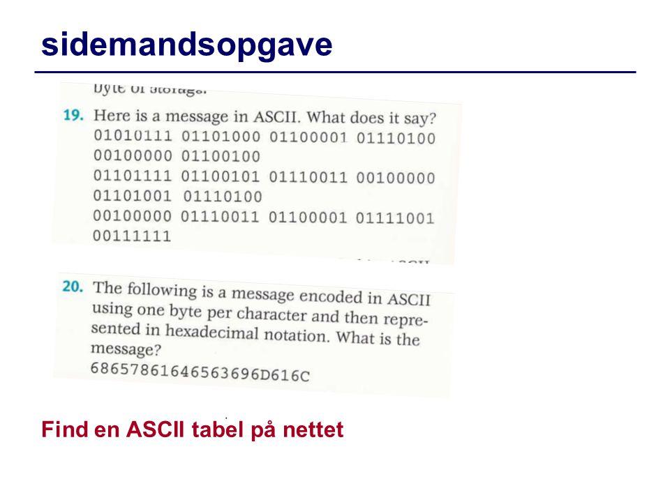 sidemandsopgave Find en ASCII tabel på nettet