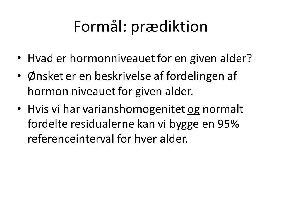 Formål: prædiktion Hvad er hormonniveauet for en given alder