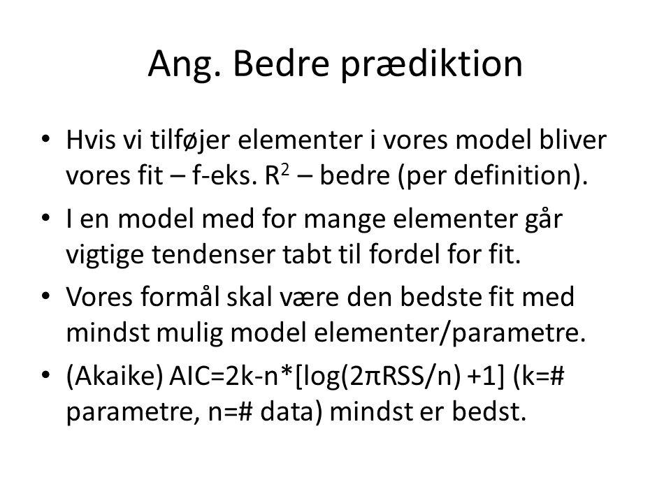 Ang. Bedre prædiktion Hvis vi tilføjer elementer i vores model bliver vores fit – f-eks. R2 – bedre (per definition).
