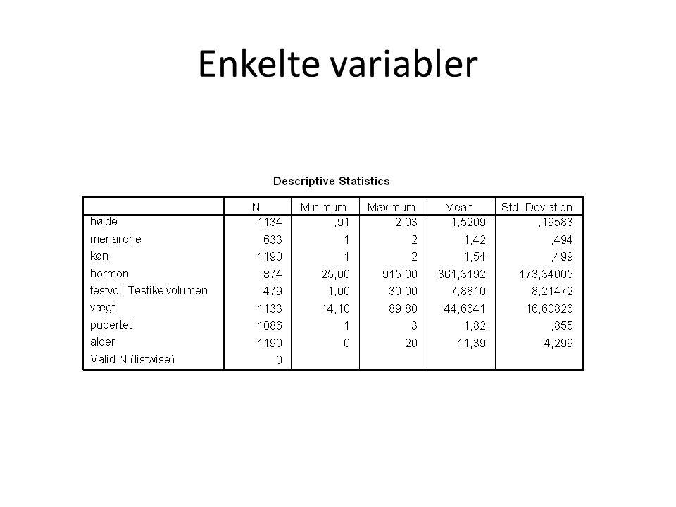 Enkelte variabler