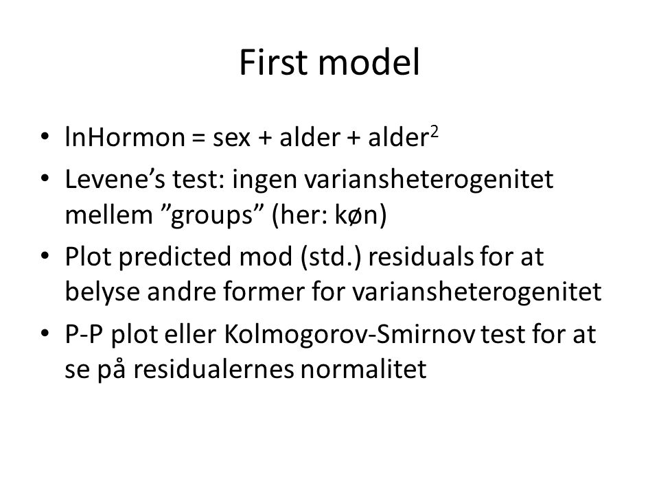 First model lnHormon = sex + alder + alder2