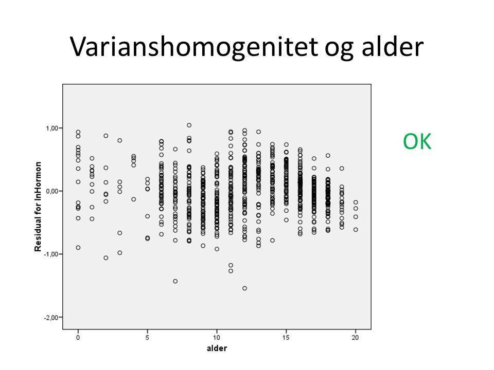 Varianshomogenitet og alder