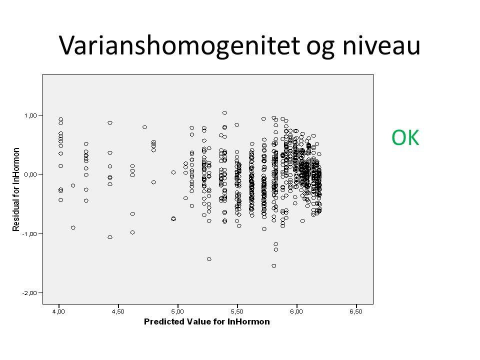 Varianshomogenitet og niveau