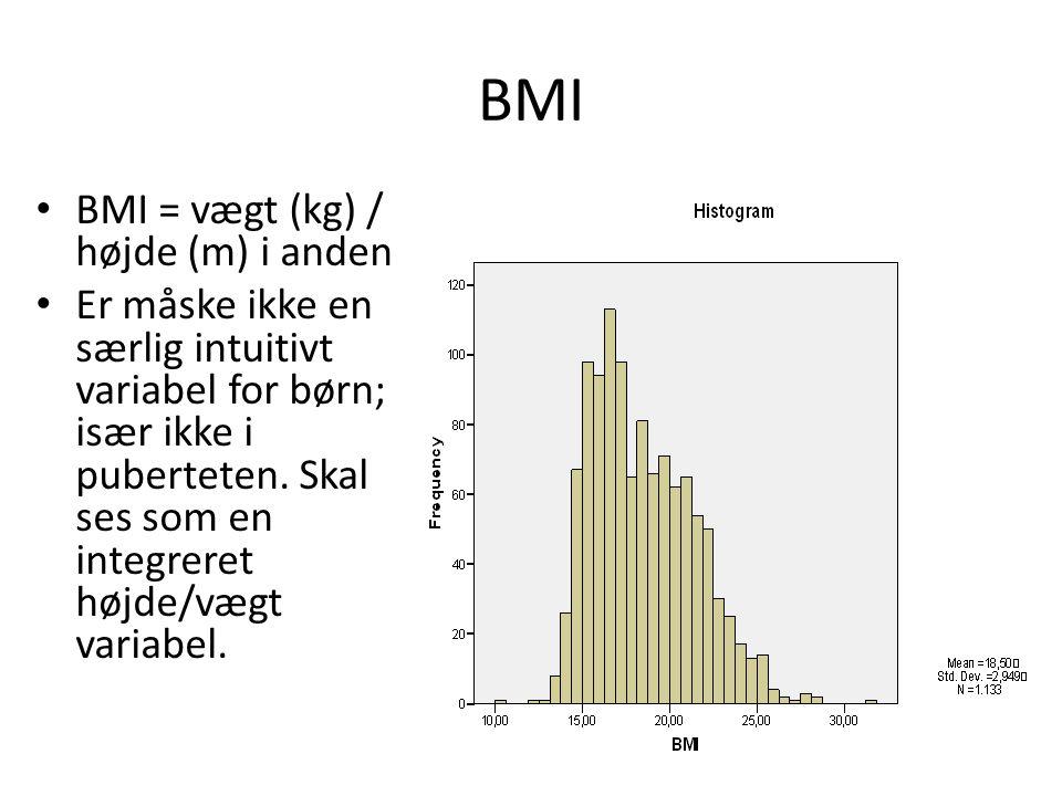 BMI BMI = vægt (kg) / højde (m) i anden