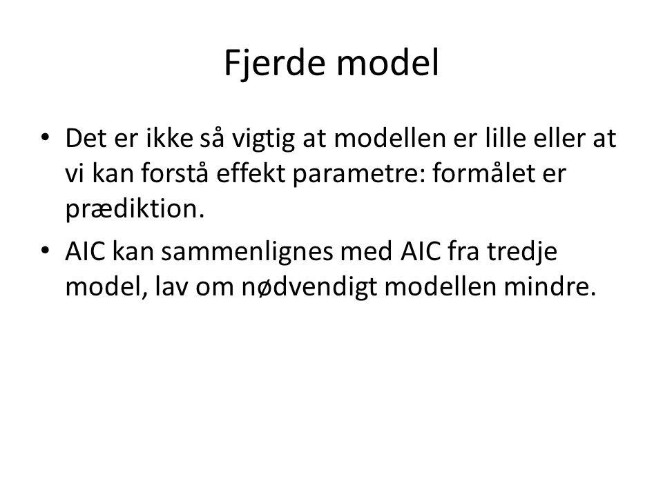 Fjerde model Det er ikke så vigtig at modellen er lille eller at vi kan forstå effekt parametre: formålet er prædiktion.