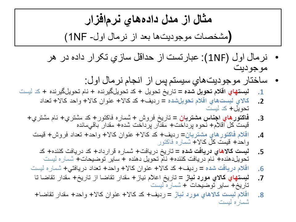 مثال از مدل دادههاي نرمافزار (مشخصات موجوديتها بعد از نرمال اول- 1NF)