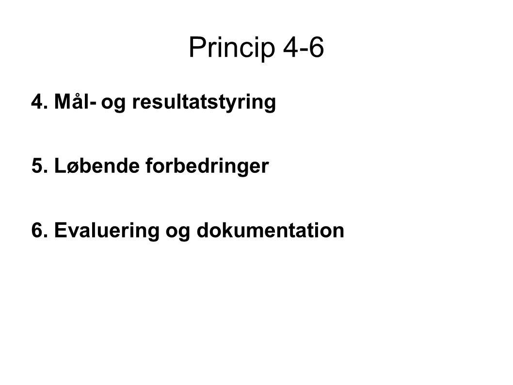 Princip 4-6 4. Mål- og resultatstyring 5. Løbende forbedringer