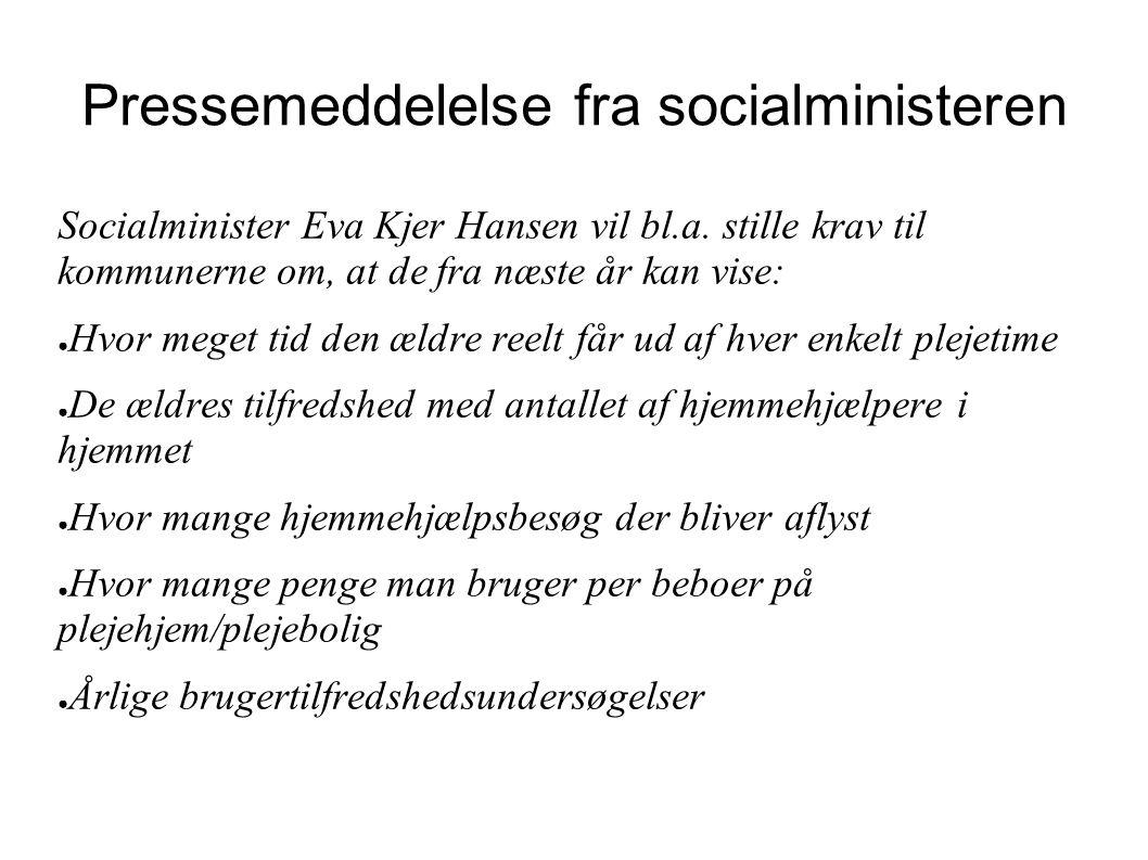 Pressemeddelelse fra socialministeren