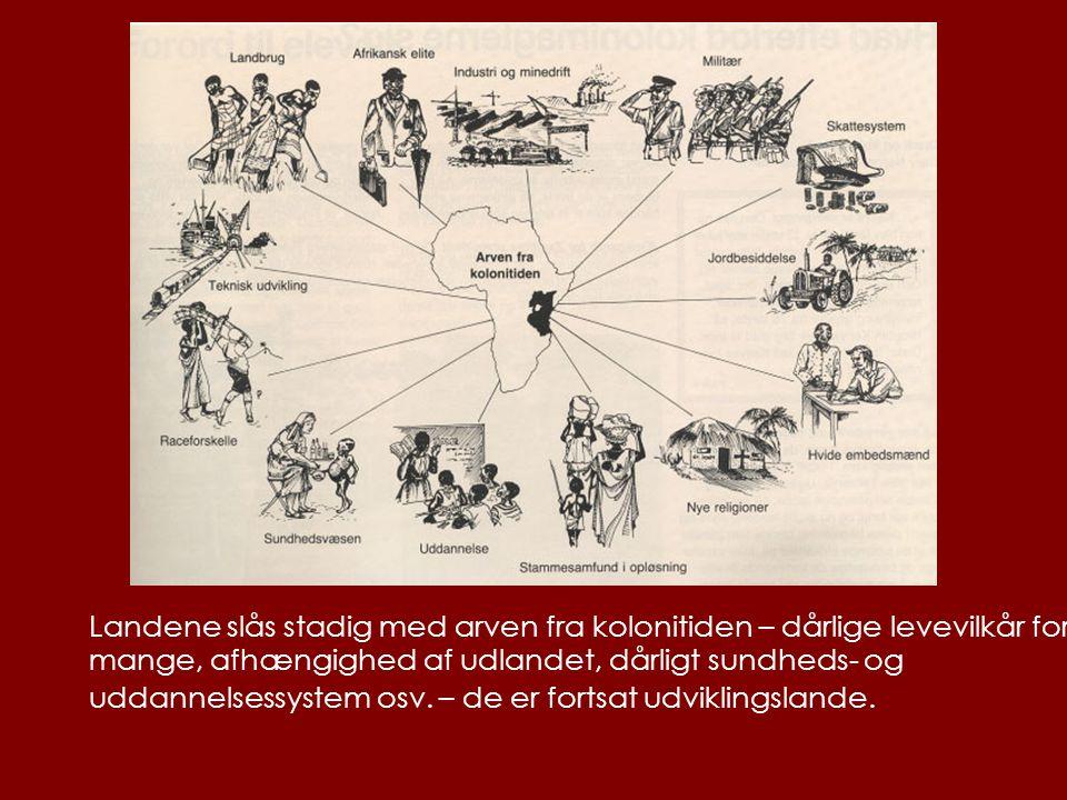 Landene slås stadig med arven fra kolonitiden – dårlige levevilkår for mange, afhængighed af udlandet, dårligt sundheds- og uddannelsessystem osv.