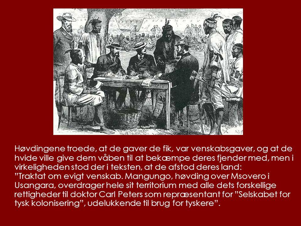 Høvdingene troede, at de gaver de fik, var venskabsgaver, og at de hvide ville give dem våben til at bekæmpe deres fjender med, men i virkeligheden stod der i teksten, at de afstod deres land: Traktat om evigt venskab.