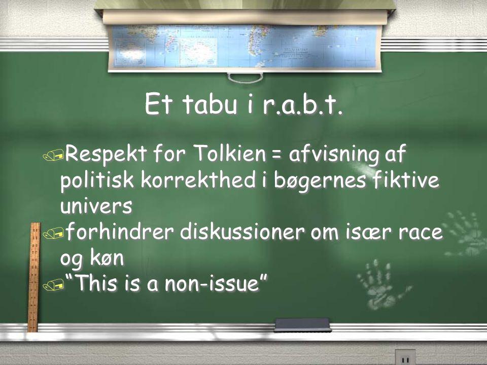 Et tabu i r.a.b.t. Respekt for Tolkien = afvisning af politisk korrekthed i bøgernes fiktive univers.