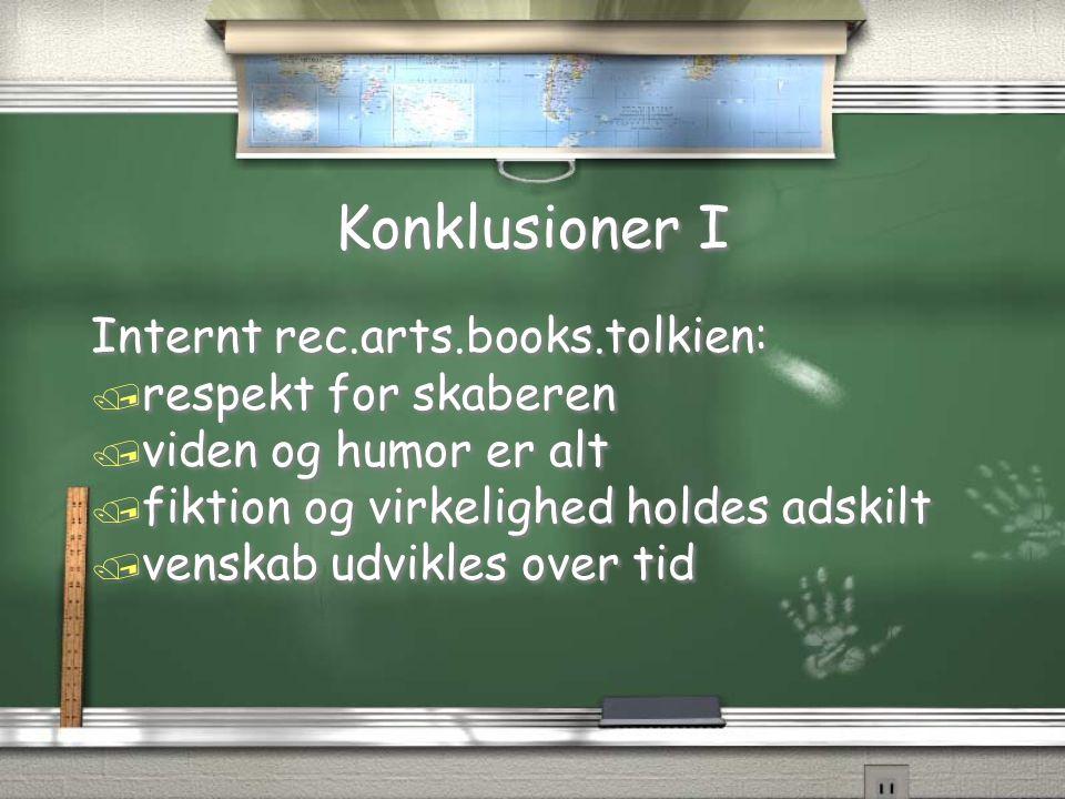 Konklusioner I Internt rec.arts.books.tolkien: respekt for skaberen