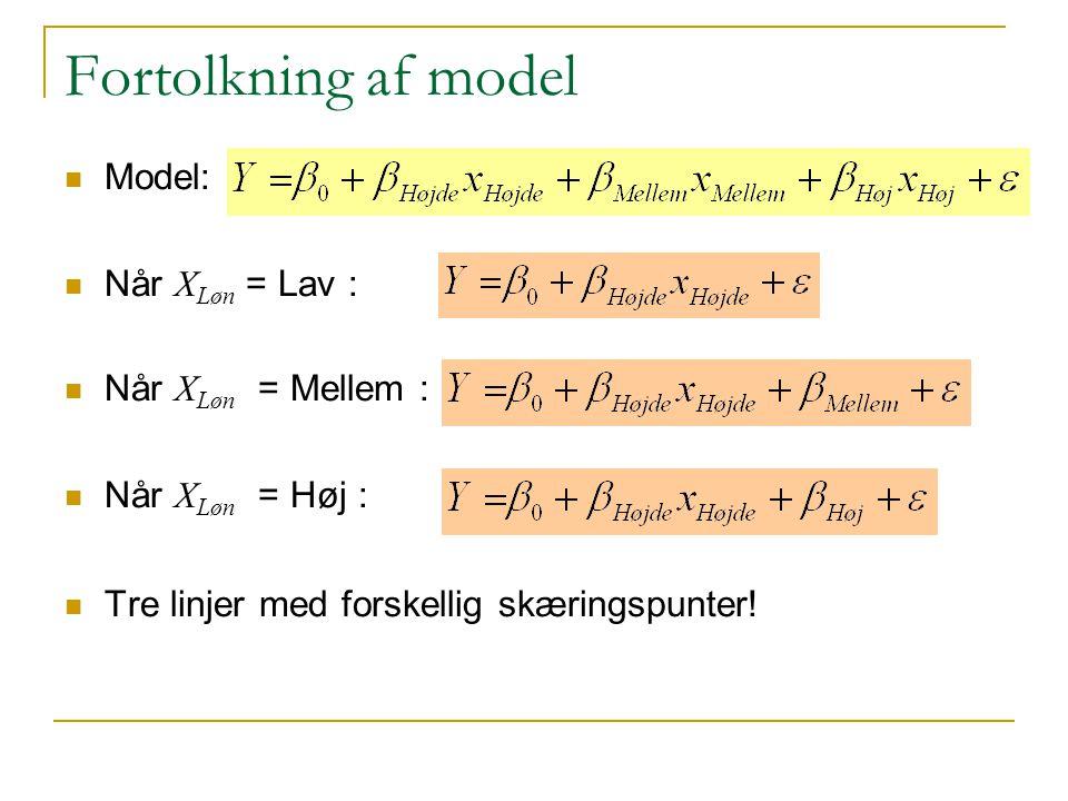 Fortolkning af model Model: Når XLøn = Lav : Når XLøn = Mellem :