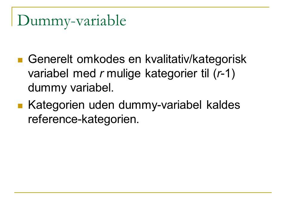 Dummy-variable Generelt omkodes en kvalitativ/kategorisk variabel med r mulige kategorier til (r-1) dummy variabel.