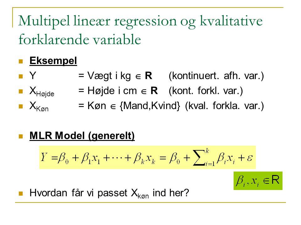 Multipel lineær regression og kvalitative forklarende variable