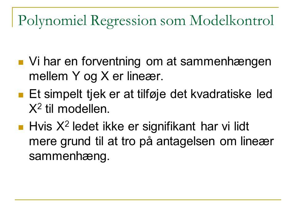 Polynomiel Regression som Modelkontrol