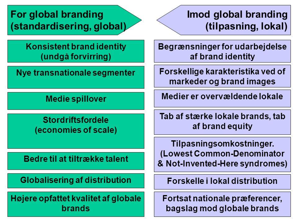 (standardisering, global) Imod global branding (tilpasning, lokal)
