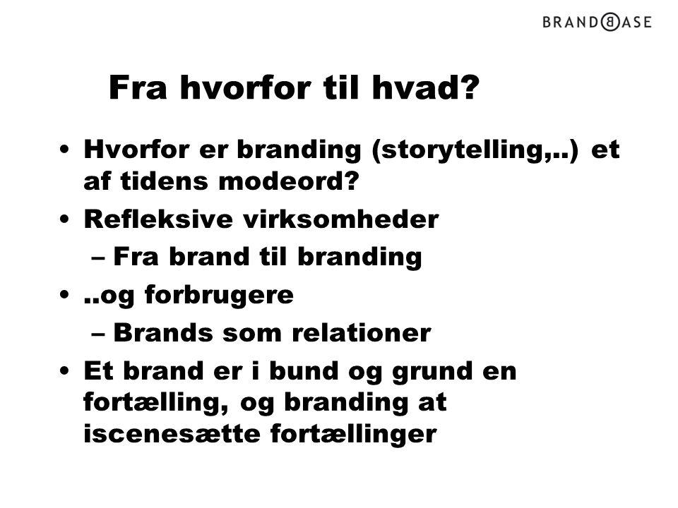Fra hvorfor til hvad Hvorfor er branding (storytelling,..) et af tidens modeord Refleksive virksomheder.
