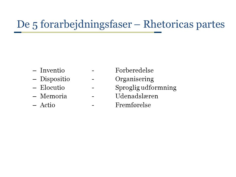 De 5 forarbejdningsfaser – Rhetoricas partes