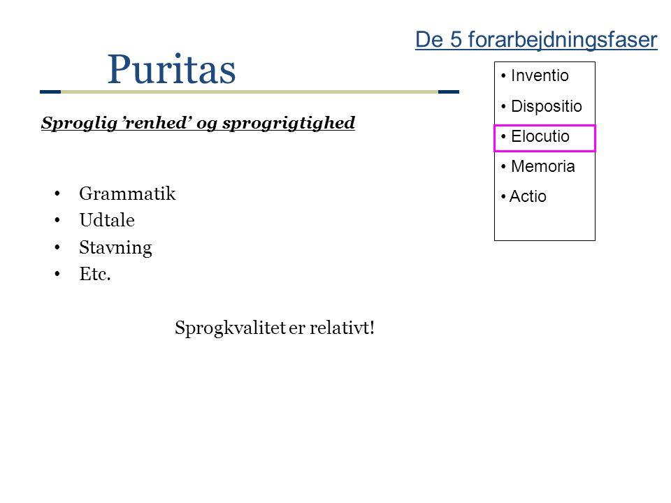 Puritas De 5 forarbejdningsfaser Grammatik Udtale Stavning Etc.