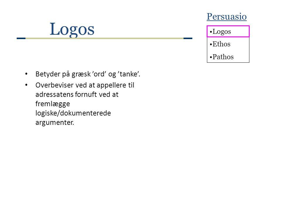 Logos Persuasio Betyder på græsk 'ord' og 'tanke'.
