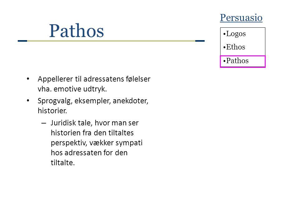 Persuasio Pathos. Logos. Ethos. Pathos. Appellerer til adressatens følelser vha. emotive udtryk.