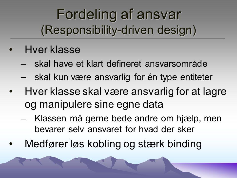 Fordeling af ansvar (Responsibility-driven design)