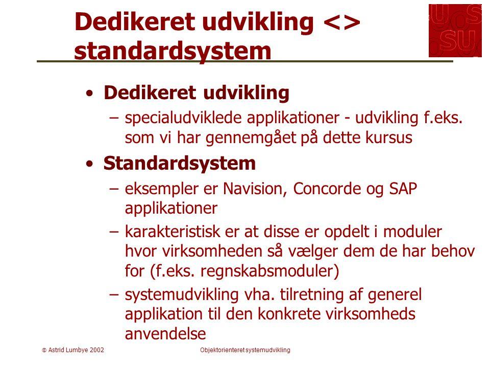 Dedikeret udvikling <> standardsystem