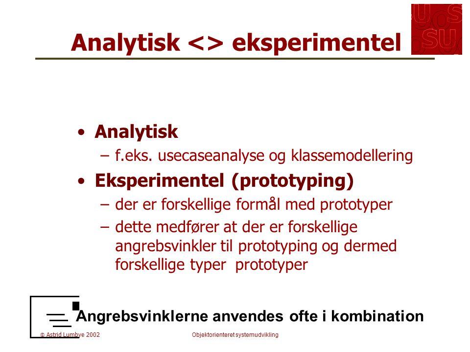 Analytisk <> eksperimentel