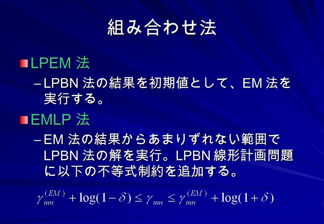 組み合わせ法 LPEM 法 EMLP 法 LPBN 法の結果を初期値として、EM 法を実行する。