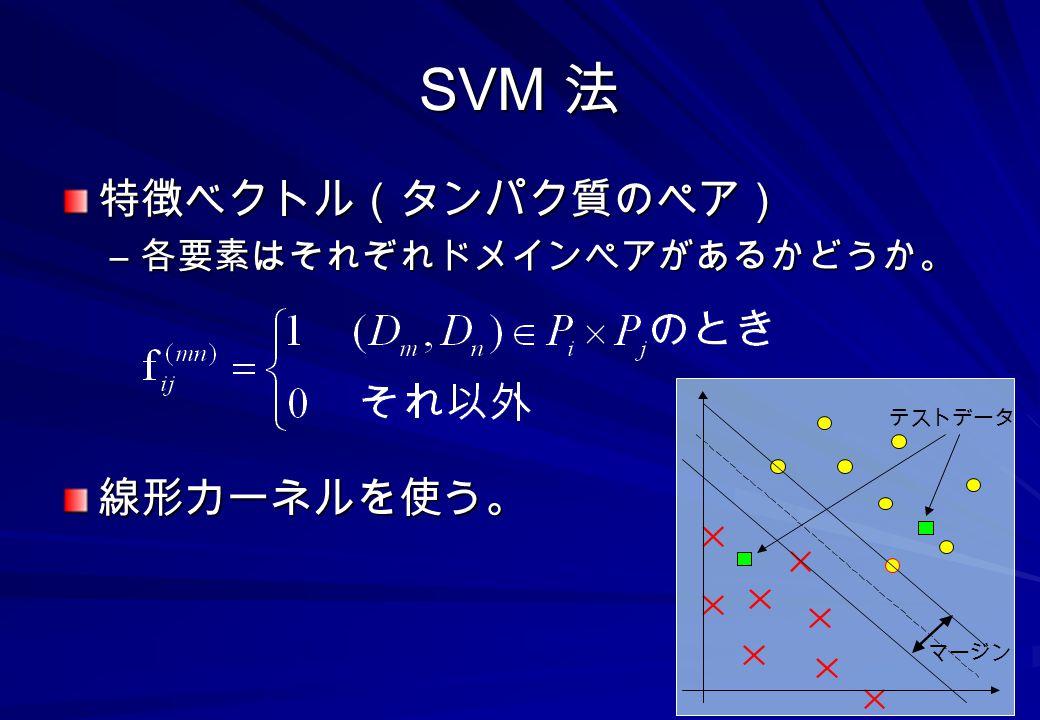 SVM 法 特徴ベクトル(タンパク質のペア) 線形カーネルを使う。 各要素はそれぞれドメインペアがあるかどうか。 テストデータ マージン