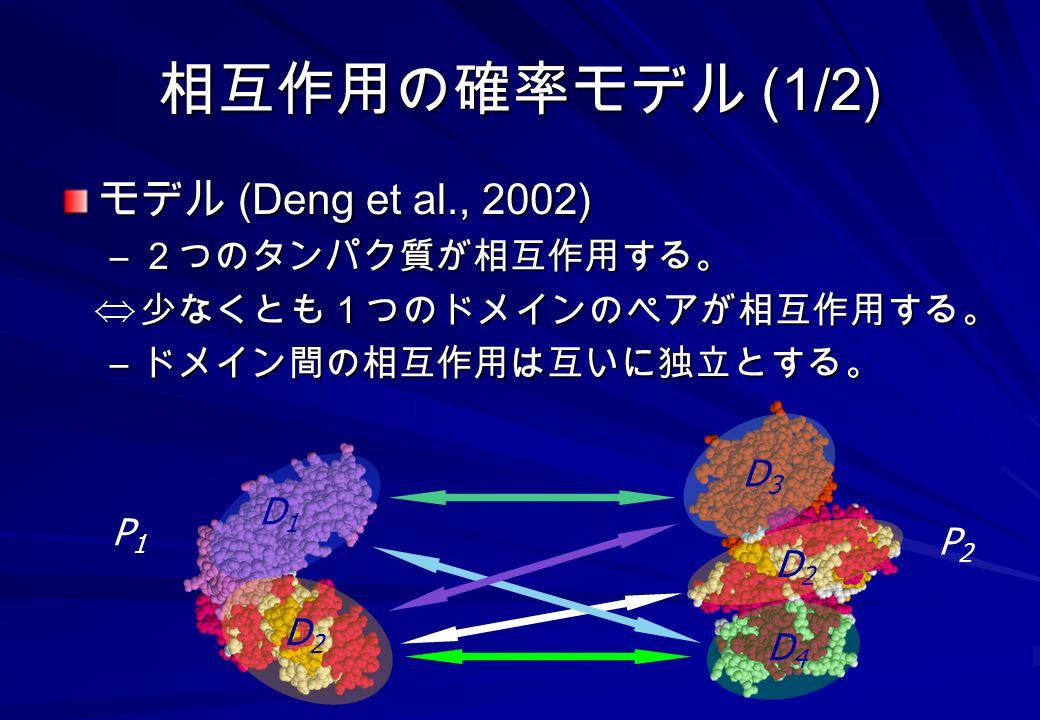 相互作用の確率モデル (1/2) モデル (Deng et al., 2002) 2つのタンパク質が相互作用する。