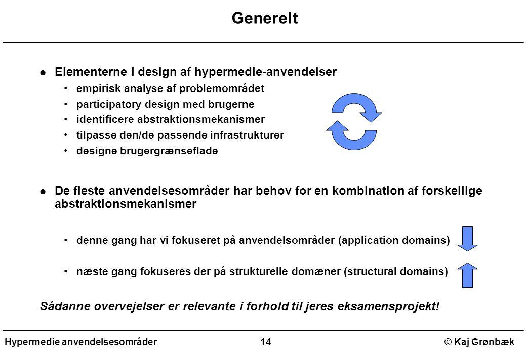 Generelt Elementerne i design af hypermedie-anvendelser