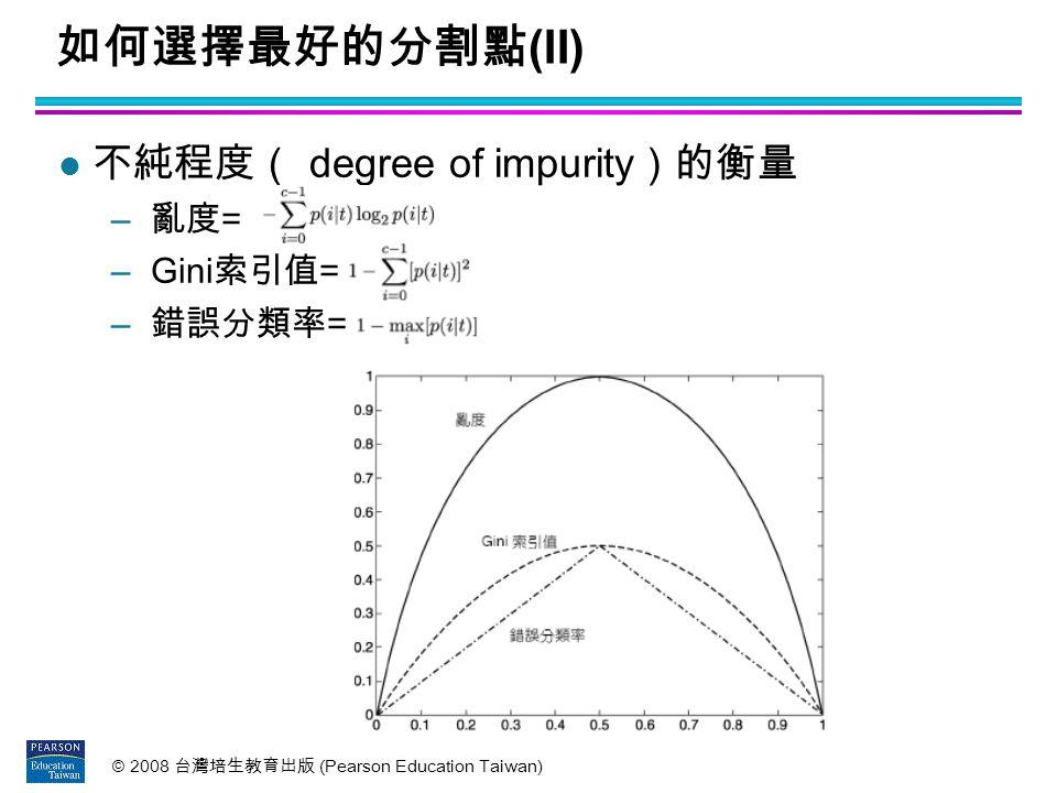 如何選擇最好的分割點(II) 不純程度( degree of impurity)的衡量 亂度= Gini索引值= 錯誤分類率=