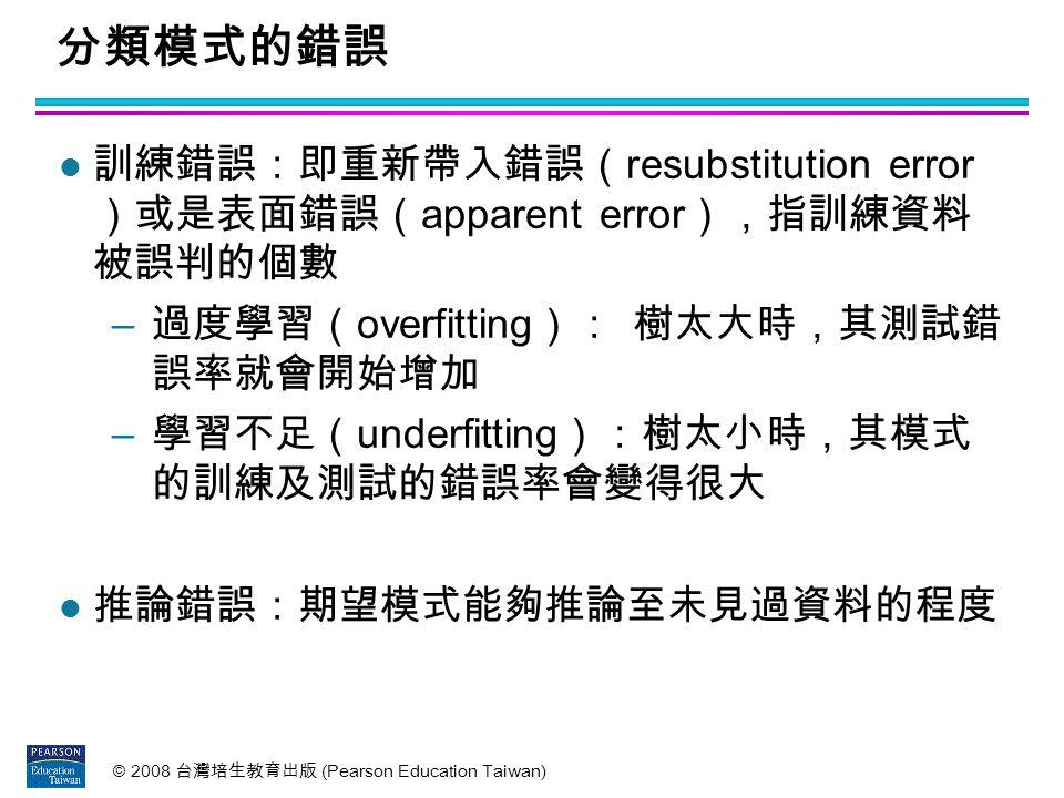 分類模式的錯誤 訓練錯誤:即重新帶入錯誤(resubstitution error )或是表面錯誤(apparent error),指訓練資料 被誤判的個數. 過度學習(overfitting): 樹太大時,其測試錯 誤率就會開始增加.