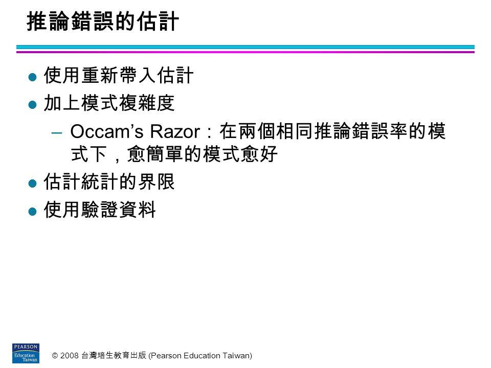 推論錯誤的估計 使用重新帶入估計 加上模式複雜度 Occam's Razor:在兩個相同推論錯誤率的模 式下,愈簡單的模式愈好