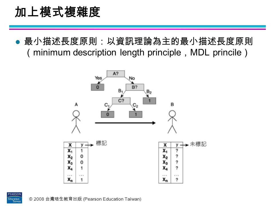 加上模式複雜度 最小描述長度原則:以資訊理論為主的最小描述長度原則 (minimum description length principle,MDL princile)