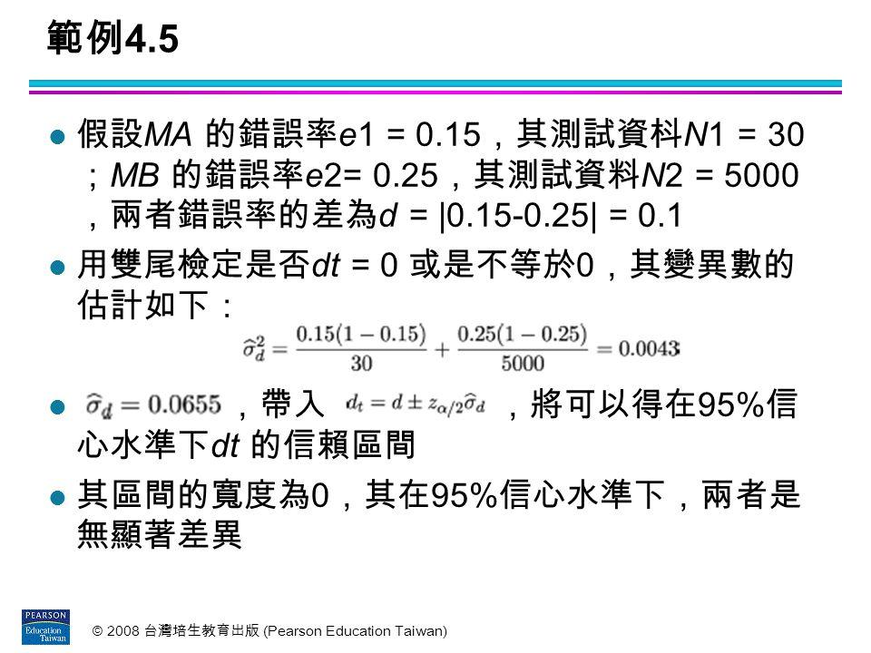 範例4.5 假設MA 的錯誤率e1 = 0.15,其測試資枓N1 = 30 ;MB 的錯誤率e2= 0.25,其測試資料N2 = 5000 ,兩者錯誤率的差為d = |0.15-0.25| = 0.1.