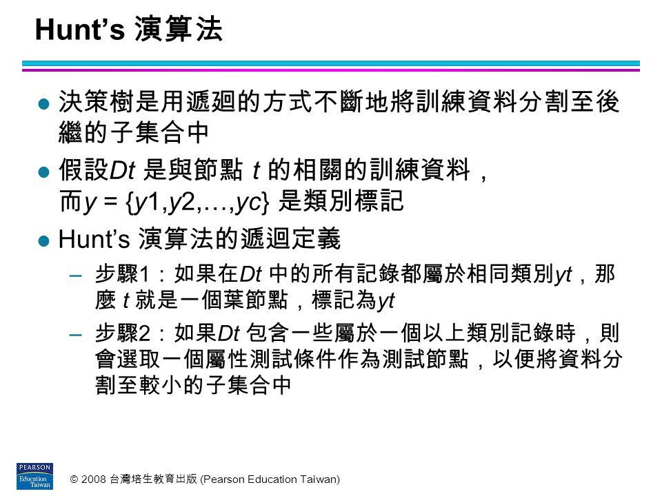 Hunt's 演算法 決策樹是用遞廻的方式不斷地將訓練資料分割至後 繼的子集合中