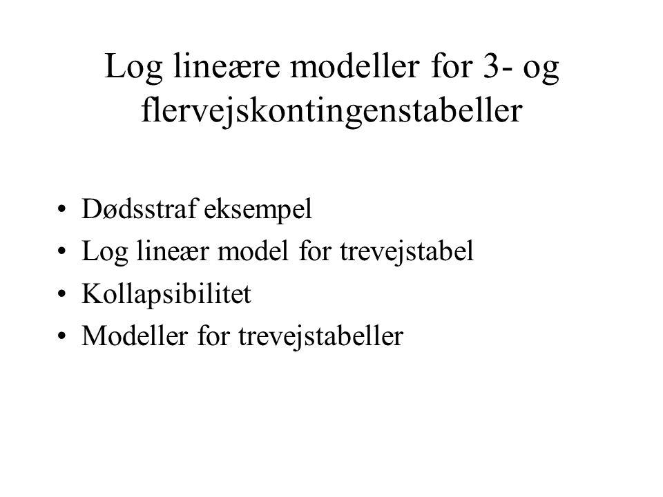 Log lineære modeller for 3- og flervejskontingenstabeller