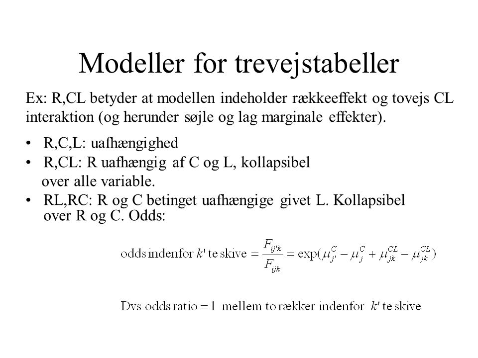 Modeller for trevejstabeller
