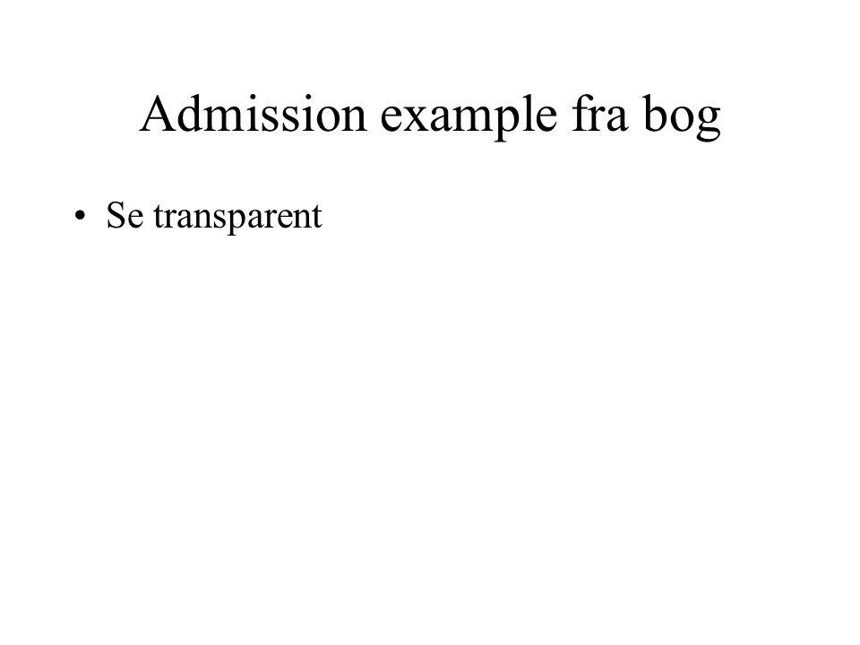 Admission example fra bog