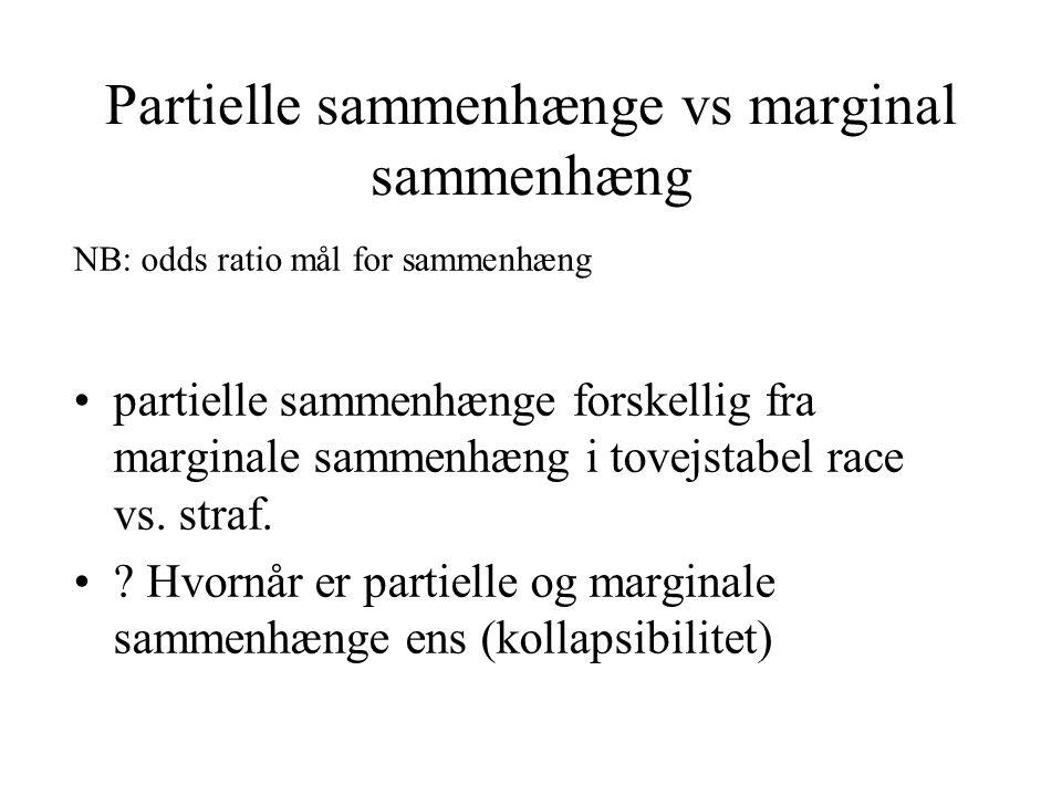 Partielle sammenhænge vs marginal sammenhæng