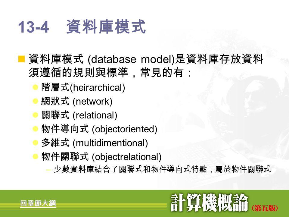 13-4 資料庫模式 資料庫模式 (database model)是資料庫存放資料須遵循的規則與標準,常見的有: