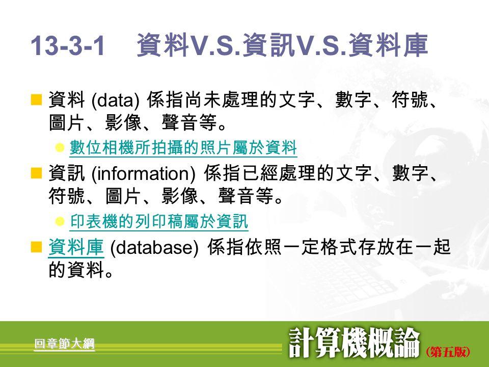 13-3-1 資料V.S.資訊V.S.資料庫 資料 (data) 係指尚未處理的文字、數字、符號、圖片、影像、聲音等。