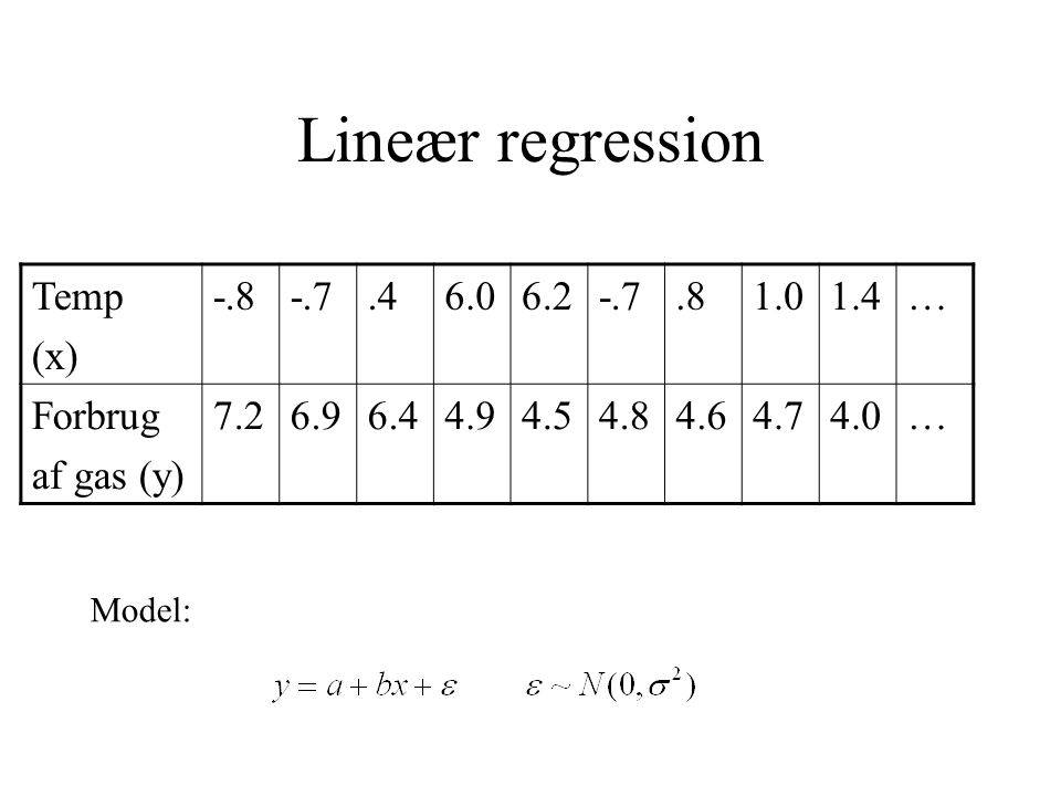 Lineær regression Temp (x) -.8 -.7 .4 6.0 6.2 .8 1.0 1.4 … Forbrug