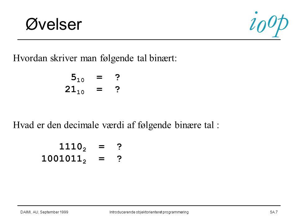 Øvelser Hvordan skriver man følgende tal binært: 510 = 2110 =